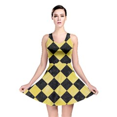 Square2 Black Marble & Yellow Watercolor Reversible Skater Dress