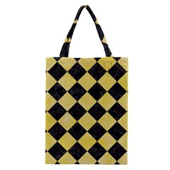 Square2 Black Marble & Yellow Watercolor Classic Tote Bag