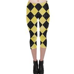 Square2 Black Marble & Yellow Watercolor Capri Leggings