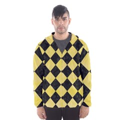 Square2 Black Marble & Yellow Watercolor Hooded Wind Breaker (men)