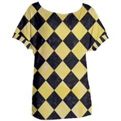 Square2 Black Marble & Yellow Watercolor Women s Oversized Tee