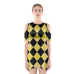 Square2 Black Marble & Yellow Watercolor Shoulder Cutout One Piece