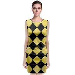 Square2 Black Marble & Yellow Watercolor Classic Sleeveless Midi Dress