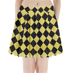 Square2 Black Marble & Yellow Watercolor Pleated Mini Skirt