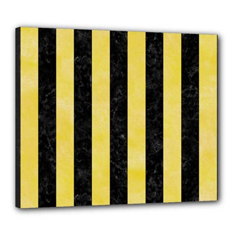Stripes1 Black Marble & Yellow Watercolor Canvas 24  X 20