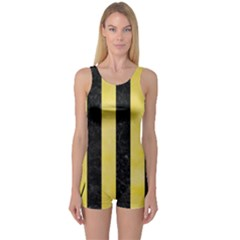 Stripes1 Black Marble & Yellow Watercolor One Piece Boyleg Swimsuit