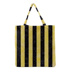 Stripes1 Black Marble & Yellow Watercolor Grocery Tote Bag