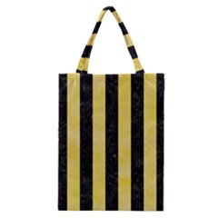 Stripes1 Black Marble & Yellow Watercolor Classic Tote Bag