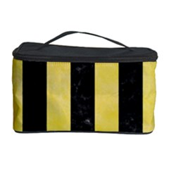 Stripes1 Black Marble & Yellow Watercolor Cosmetic Storage Case