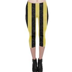 Stripes1 Black Marble & Yellow Watercolor Capri Leggings