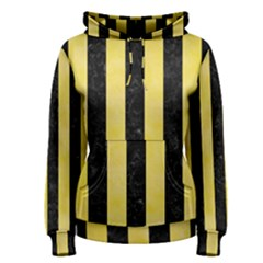Stripes1 Black Marble & Yellow Watercolor Women s Pullover Hoodie