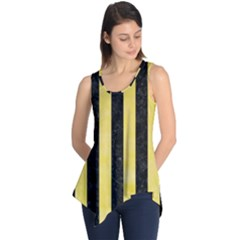 Stripes1 Black Marble & Yellow Watercolor Sleeveless Tunic