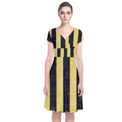 Stripes1 Black Marble & Yellow Watercolor Short Sleeve Front Wrap Dress