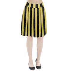 Stripes1 Black Marble & Yellow Watercolor Pleated Skirt
