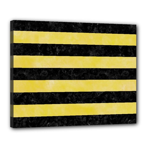 Stripes2 Black Marble & Yellow Watercolor Canvas 20  X 16