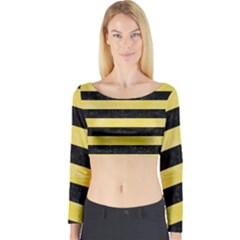 Stripes2 Black Marble & Yellow Watercolor Long Sleeve Crop Top