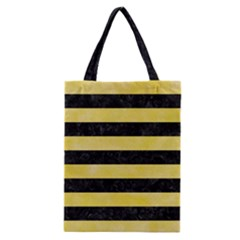 Stripes2 Black Marble & Yellow Watercolor Classic Tote Bag