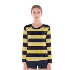 Stripes2 Black Marble & Yellow Watercolor Women s Long Sleeve Tee