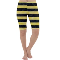 Stripes2 Black Marble & Yellow Watercolor Cropped Leggings