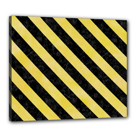 Stripes3 Black Marble & Yellow Watercolor Canvas 24  X 20
