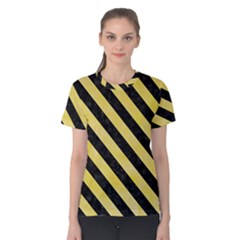 Stripes3 Black Marble & Yellow Watercolor Women s Cotton Tee