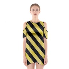 Stripes3 Black Marble & Yellow Watercolor Shoulder Cutout One Piece