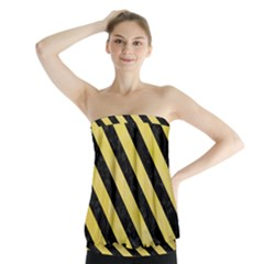 Stripes3 Black Marble & Yellow Watercolor Strapless Top
