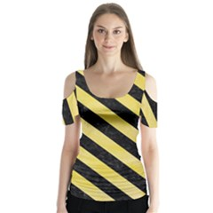 Stripes3 Black Marble & Yellow Watercolor Butterfly Sleeve Cutout Tee