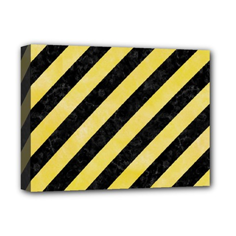 Stripes3 Black Marble & Yellow Watercolor (r) Deluxe Canvas 16  X 12
