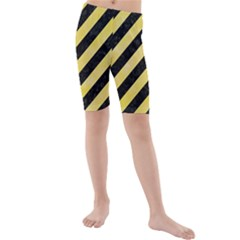 Stripes3 Black Marble & Yellow Watercolor (r) Kids  Mid Length Swim Shorts