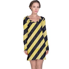 Stripes3 Black Marble & Yellow Watercolor (r) Long Sleeve Nightdress