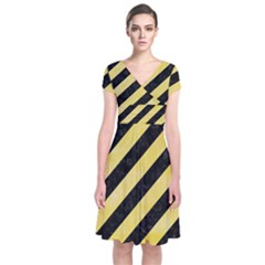 Stripes3 Black Marble & Yellow Watercolor (r) Short Sleeve Front Wrap Dress
