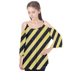 Stripes3 Black Marble & Yellow Watercolor (r) Flutter Tees