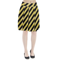 Stripes3 Black Marble & Yellow Watercolor (r) Pleated Skirt