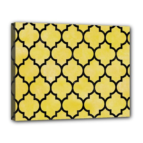 Tile1 Black Marble & Yellow Watercolor Canvas 14  X 11
