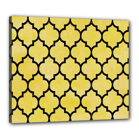 Tile1 Black Marble & Yellow Watercolor Canvas 24  X 20