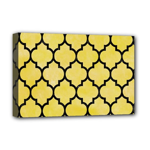 Tile1 Black Marble & Yellow Watercolor Deluxe Canvas 18  X 12