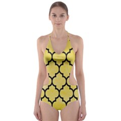 Tile1 Black Marble & Yellow Watercolor Cut Out One Piece Swimsuit