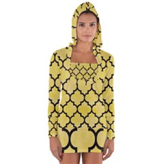 Tile1 Black Marble & Yellow Watercolor Long Sleeve Hooded T Shirt