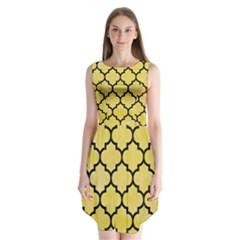 Tile1 Black Marble & Yellow Watercolor Sleeveless Chiffon Dress