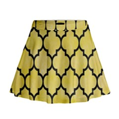 Tile1 Black Marble & Yellow Watercolor Mini Flare Skirt