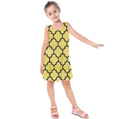 Tile1 Black Marble & Yellow Watercolor Kids  Sleeveless Dress