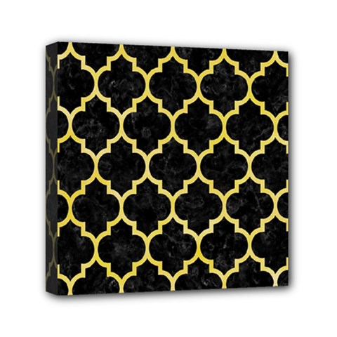 Tile1 Black Marble & Yellow Watercolor (r) Mini Canvas 6  X 6