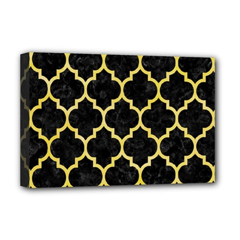 Tile1 Black Marble & Yellow Watercolor (r) Deluxe Canvas 18  X 12