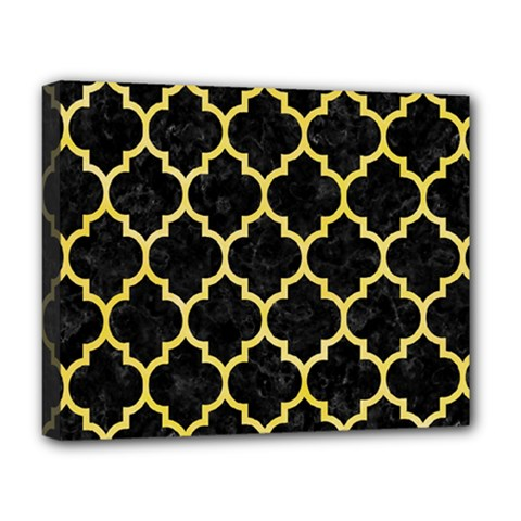 Tile1 Black Marble & Yellow Watercolor (r) Deluxe Canvas 20  X 16