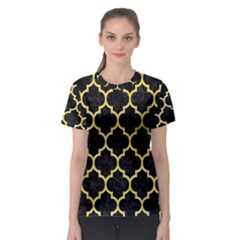 Tile1 Black Marble & Yellow Watercolor (r) Women s Sport Mesh Tee