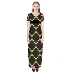 Tile1 Black Marble & Yellow Watercolor (r) Short Sleeve Maxi Dress