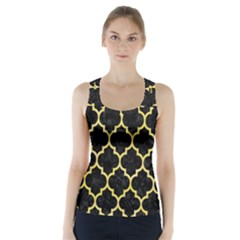 Tile1 Black Marble & Yellow Watercolor (r) Racer Back Sports Top