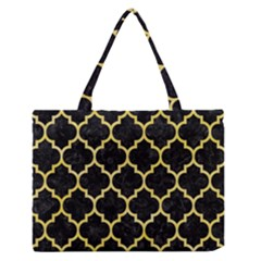Tile1 Black Marble & Yellow Watercolor (r) Zipper Medium Tote Bag