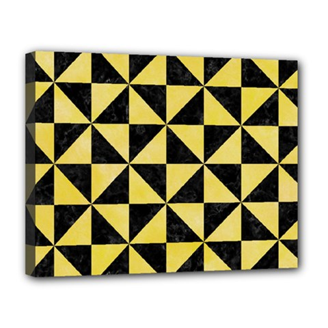 Triangle1 Black Marble & Yellow Watercolor Canvas 14  X 11
